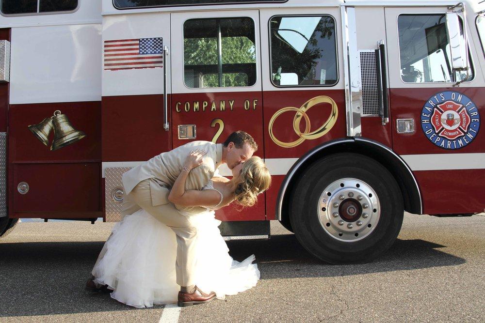 Fab! Weddings, Brant Hemingway, Minnesota weddings fire truck shuttle bus
