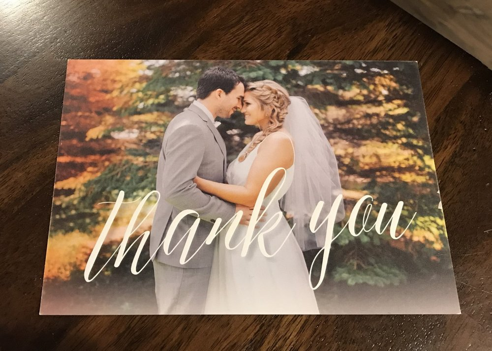 Thank you card from Fab wedding couple