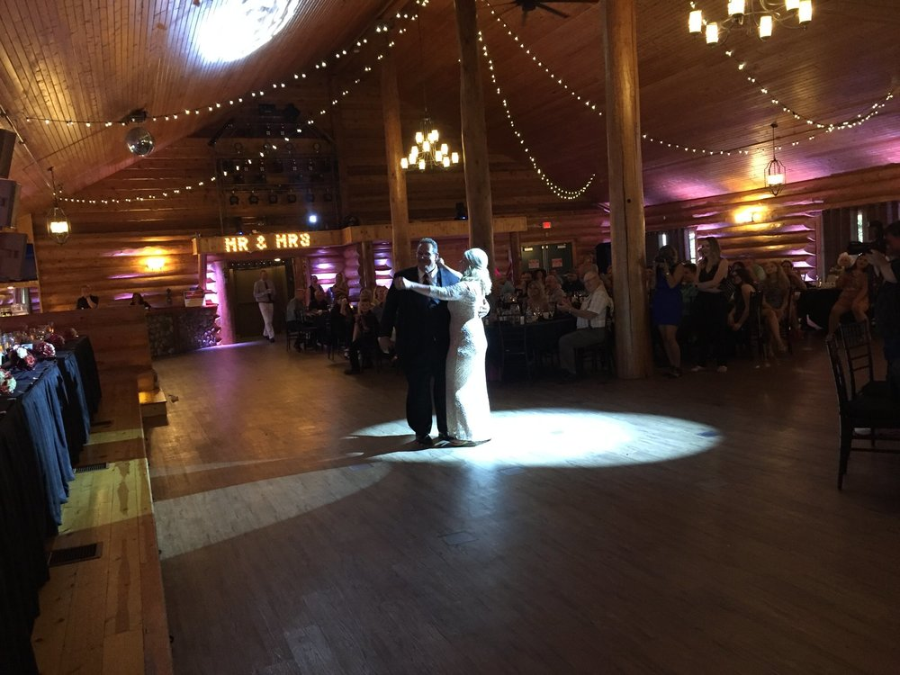 First dance Ryan Karstens uplighting at Minnesota wedding dance reception Glenhaven