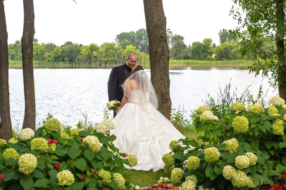 Cindyrella's Garden, Fab Weddings, outdoor Minnesota ceremony, Rosemount wedding, south metro, picture in hydrangea bushes