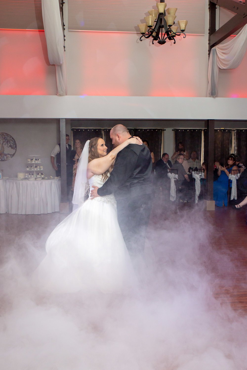 Rosehenge Hall, Fab Weddings, Minnesota reception venue, Lakeville wedding, south metro, first dance with fog