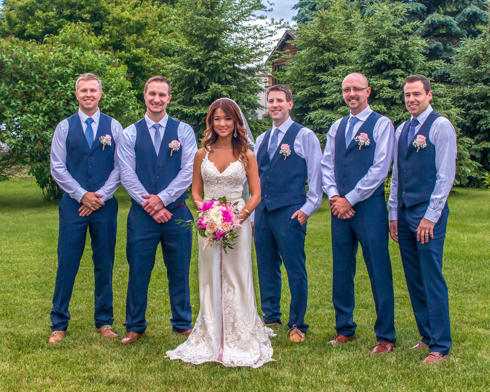 Minnesota Wedding at Glenhaven, outdoor ceremony, Fab Weddings, groomsmen with bride