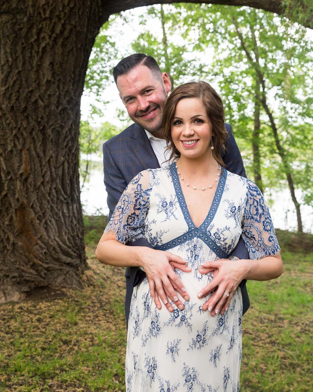 Cindyrella's Garden, pregnant bride in blue and white lace wedding dress, shotgun wedding