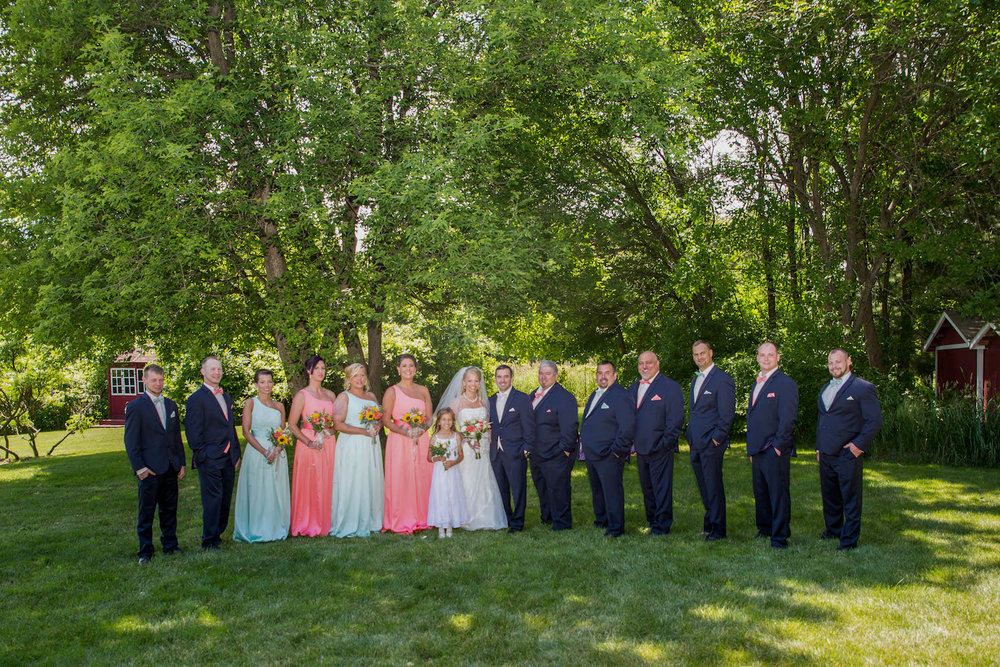 Cindyrellas Garden, outdoor lake ceremony in Minnesota, pink and mint bridesmaids dresses