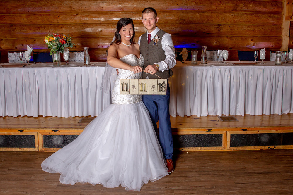 Glenhaven winter Minnesota wedding rustic barn, wood wedding date sign