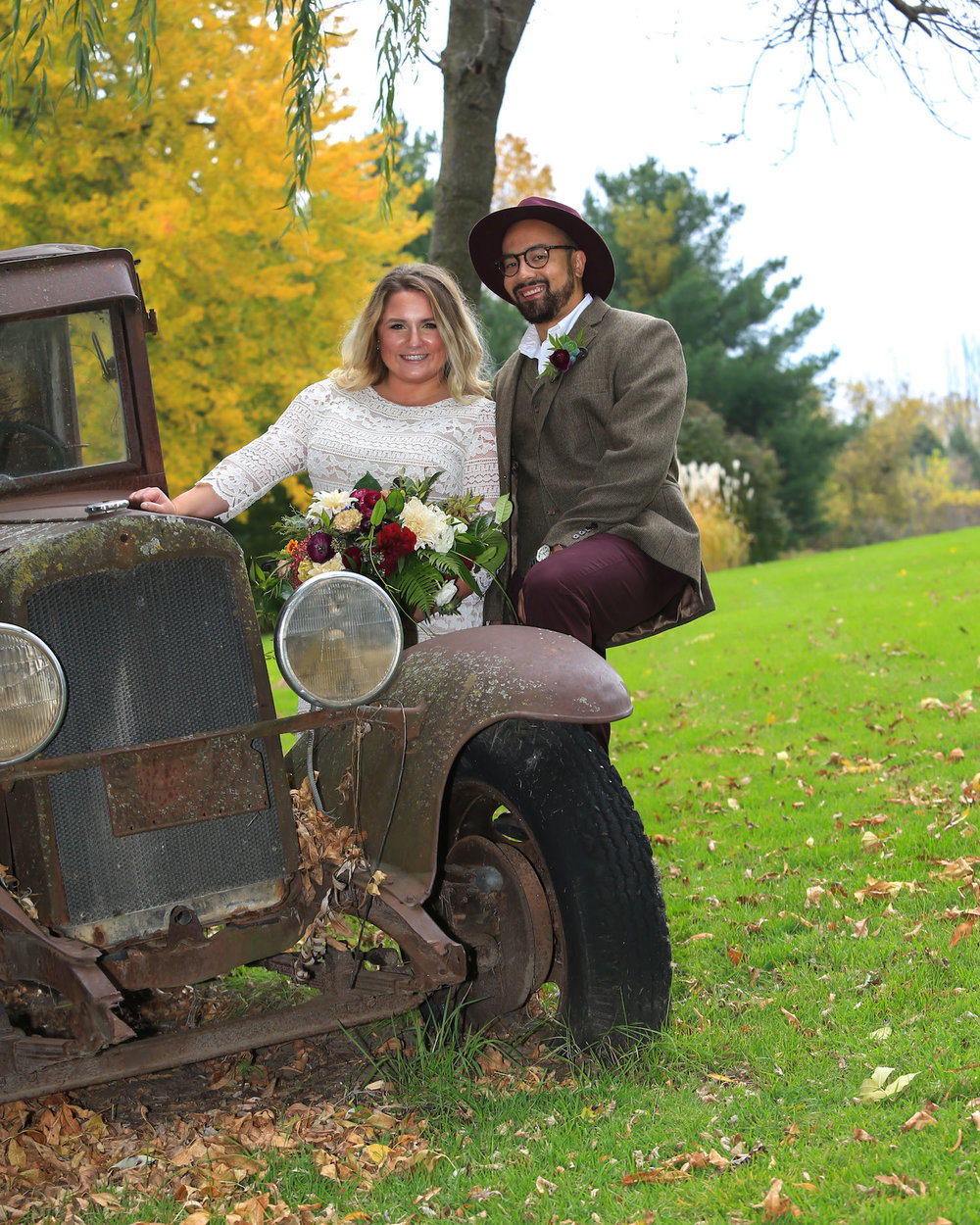 Cindyrella's Garden, outdoor ceremony on the lake in Minnesota, rusty truck photo