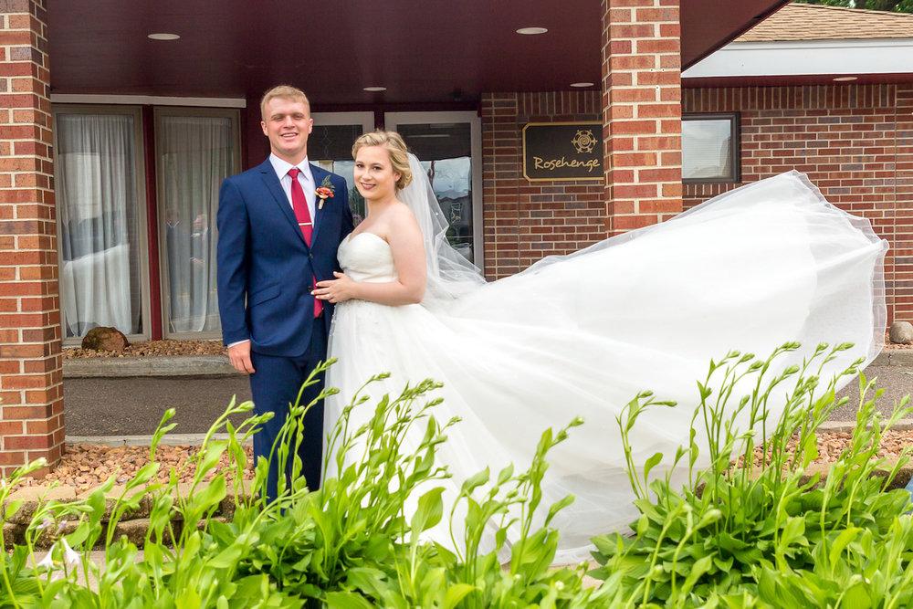 Rosehenge wedding, Lakeville wedding venue, affordable wedding venue in south Minnesota, wedding dress in the wind