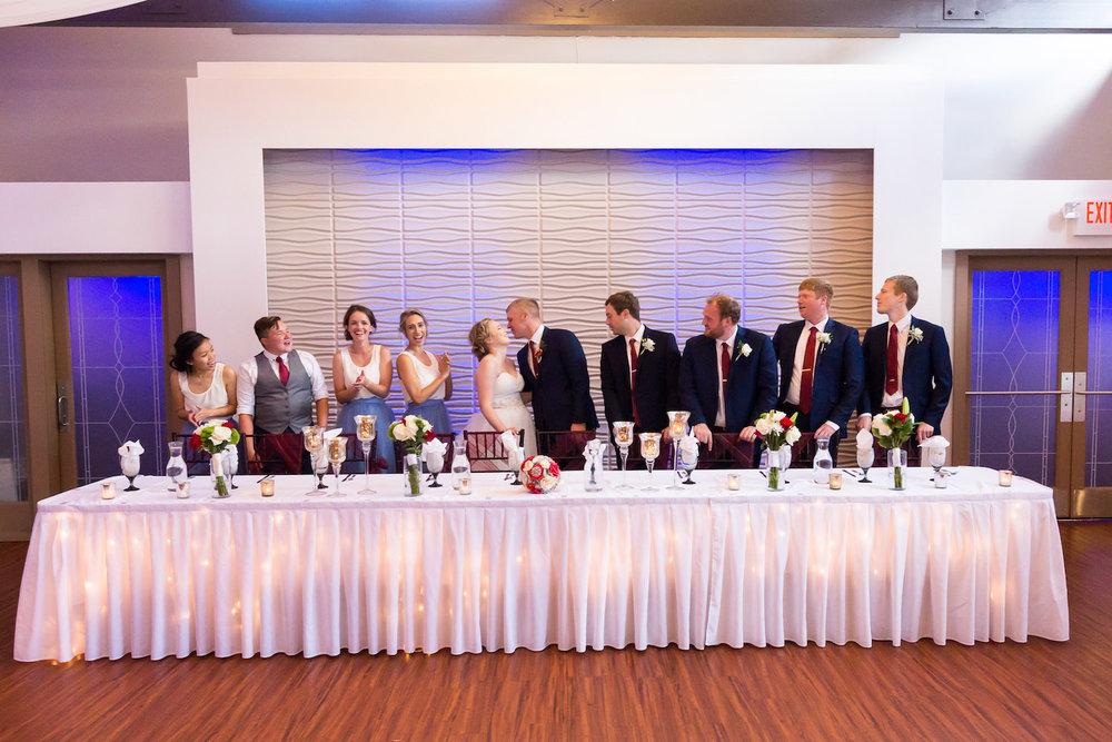 Rosehenge wedding, Lakeville wedding venue, affordable wedding venue in south Minnesota, head table lit up