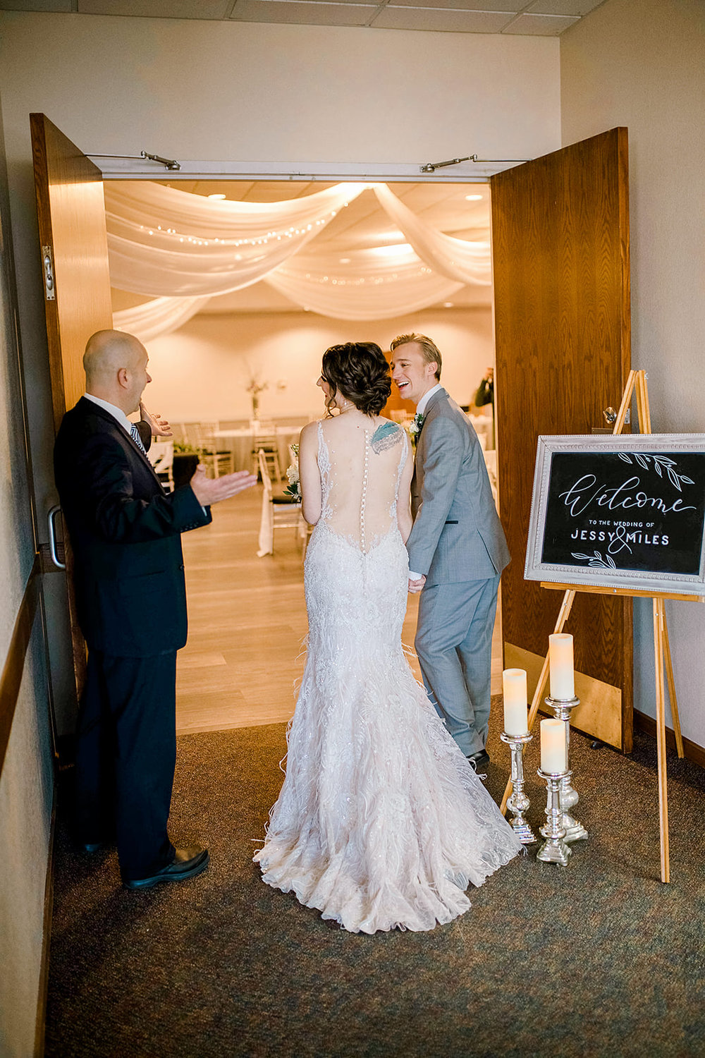 George Maverick officiant and door holder, just what your wedding needs for a stress free grand entrance in to the ballroom