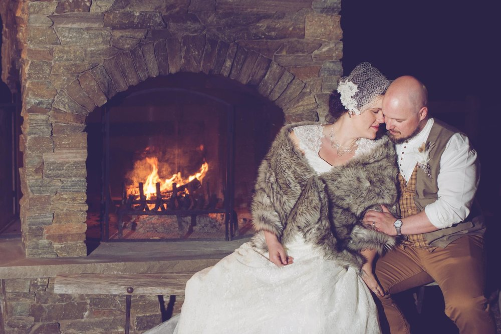 Danielle Albrecht all inclusive wedding photographer for fab weddings, fireplace photo