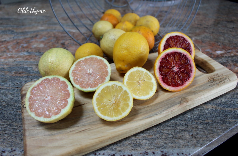 Pink Eureka lemons, Meyer's Lemons, and Moro Blood Oranges from my very own fruit trees.
