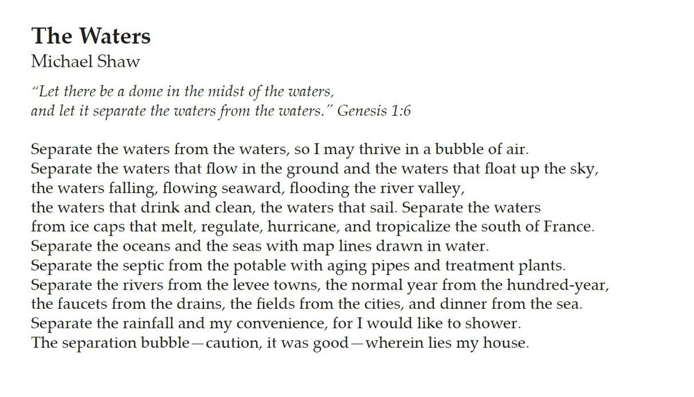 Published in the 2014-15 issue of  Words of the Watershed