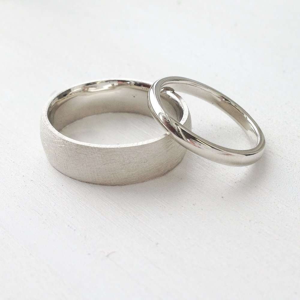 ADAM + JESS - White Gold Wedding Band Set