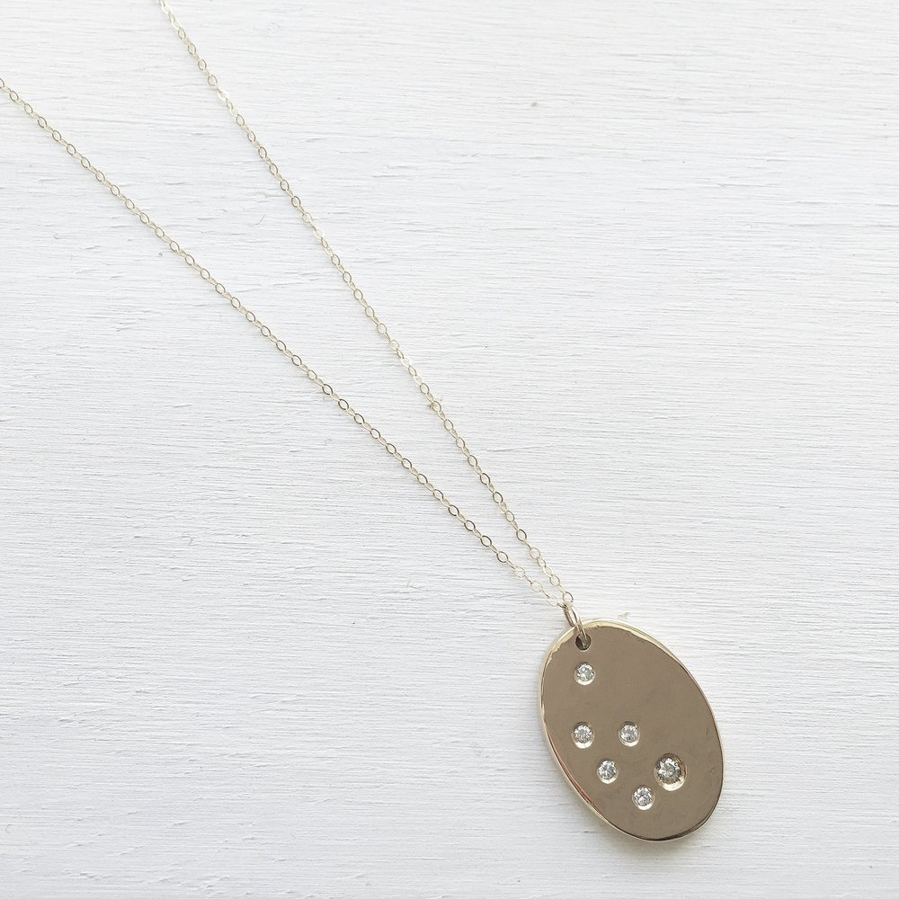 KATHERINE NECKLACE - 14k yellow gold with scatter diamonds