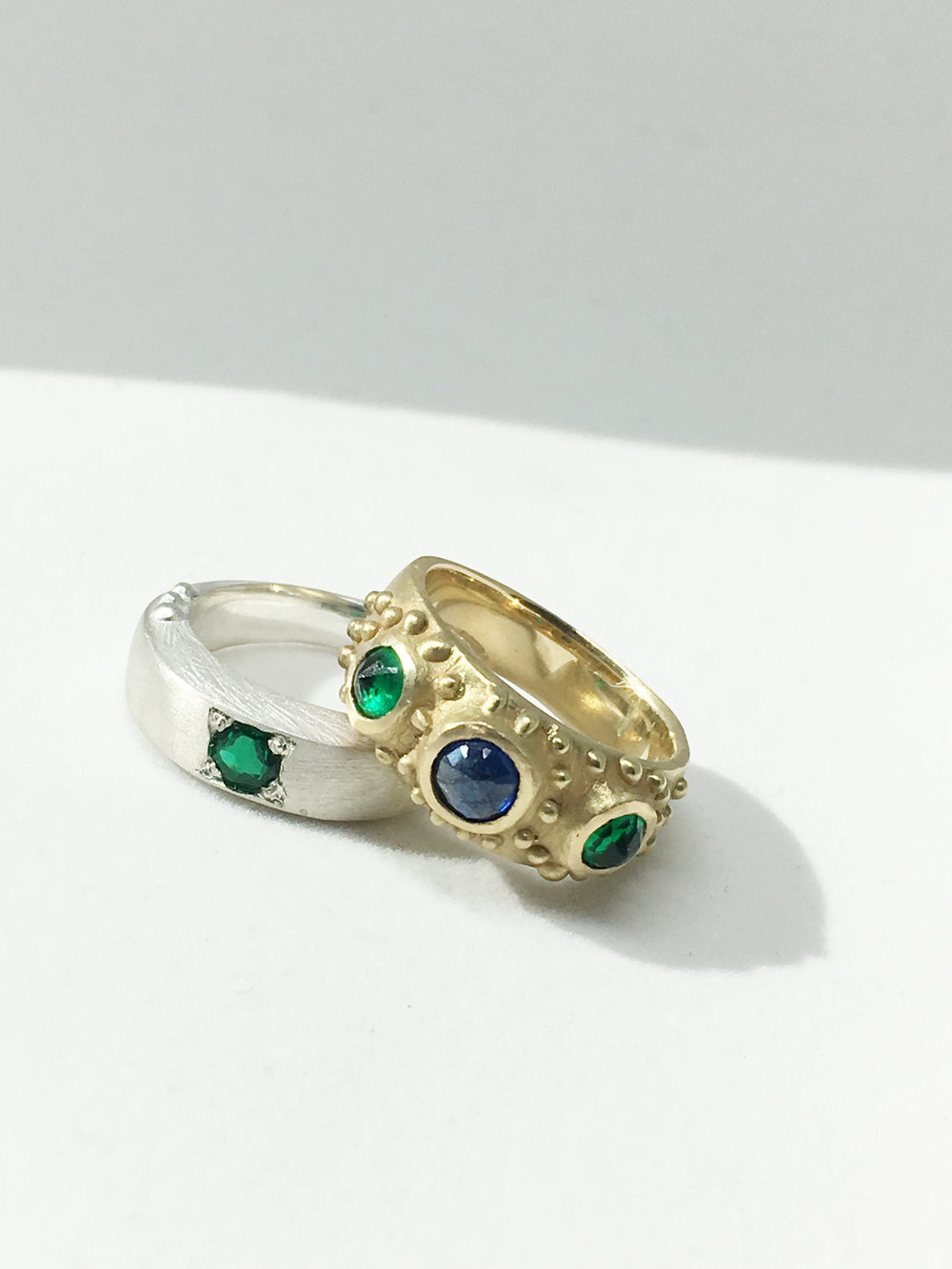 KISHORI Rings - Sterling Silver + 18k yellow gold rings with heirloom emeralds and sapphire