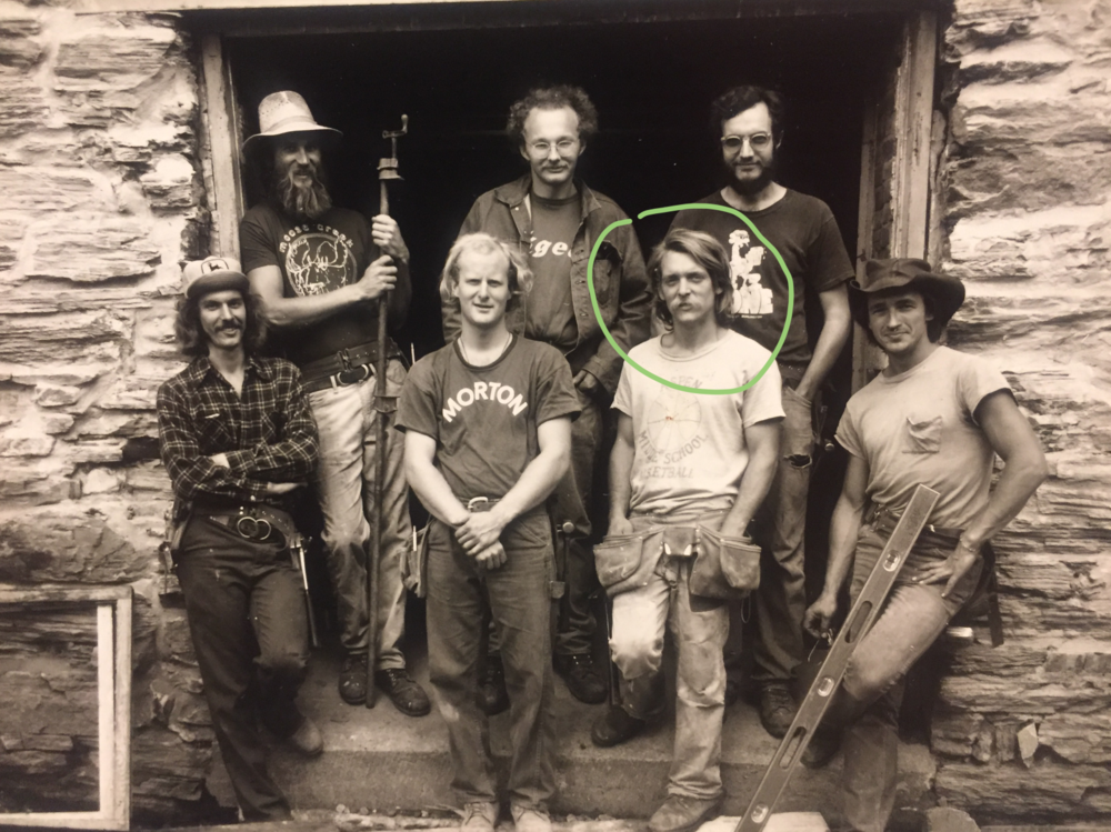 My dad and the Moose Creek gang restoring The Old Stone Mill in Middlebury, Vermont, circa 1976.