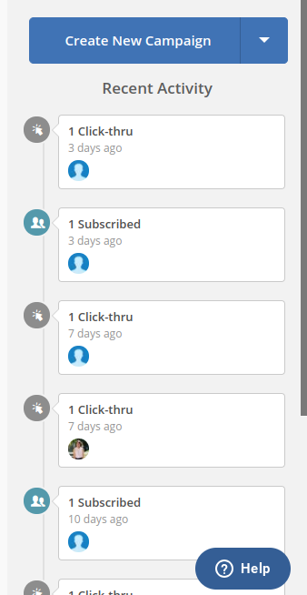 Screenshot of the recent activity in my ActiveCampaign dashboard.