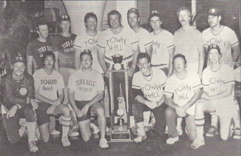 "(Back L-R) Bob Parvin, Mike Emerson, Larry Hinerichsen, Jerry Fiordelisi, Don Wesling, Gary Miles, Mike Weiskercher, John ""Arky"" Manis  (Front L-R) Mark Austin, Jim Merchant, Kurt Stellern, Mike Carroll, John Wood, Tom Taylor"