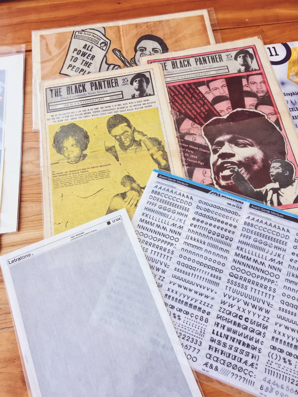 The complete collection of  The Black Panther  newsletters by artist Emory Douglas where he frequently used rub-on transfers to create depth and textures