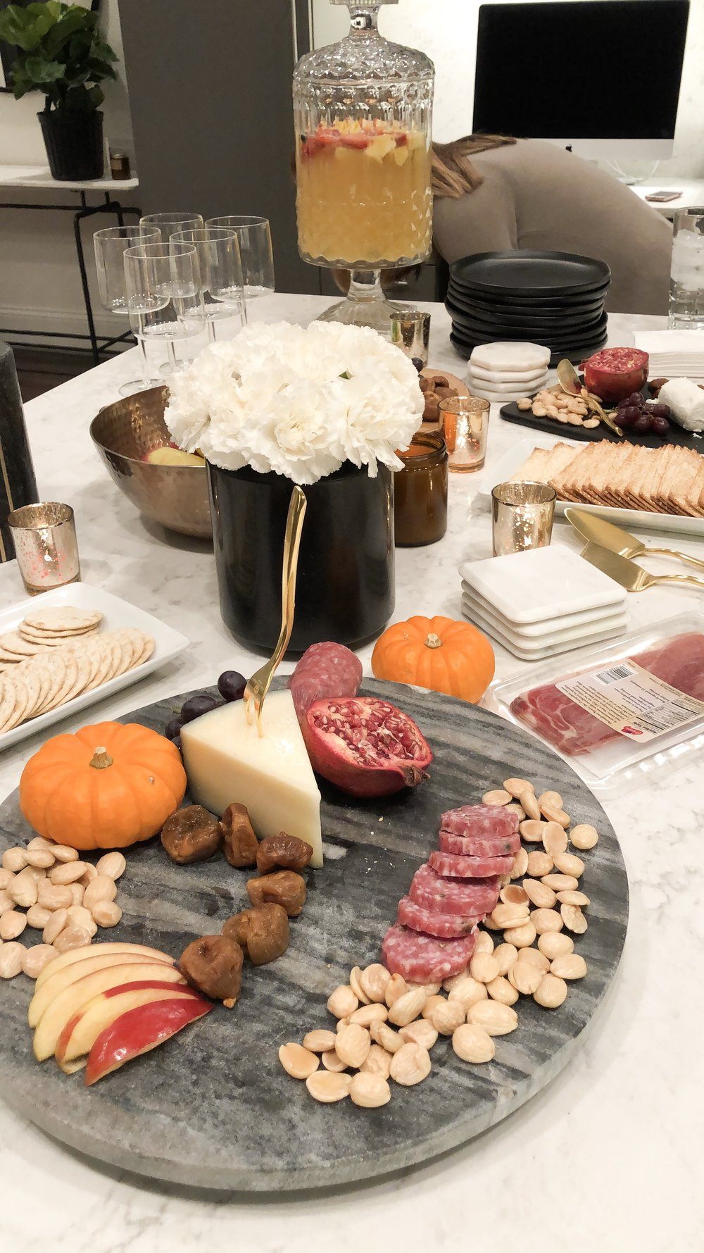 Getting set up - I like to mix fruits, nuts, meats and cheeses on my boards. I get my inspiration from Pinterest or The Project Platter (their charcuterie boards are a work of art)! I have collected my serving dishes over time but I'm always checking Homegoods and TJ Maxx for a lucky find.