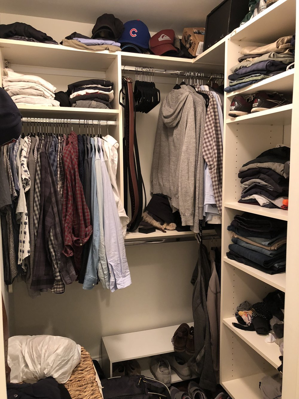 Before! There wasn't enough shoe storage, nothing had a clear place and there weren't any containers. This resulted in things being thrown on shelves and shoes covering the floor. The hamper was moved to the laundry room to free up floor space. What a transformation!