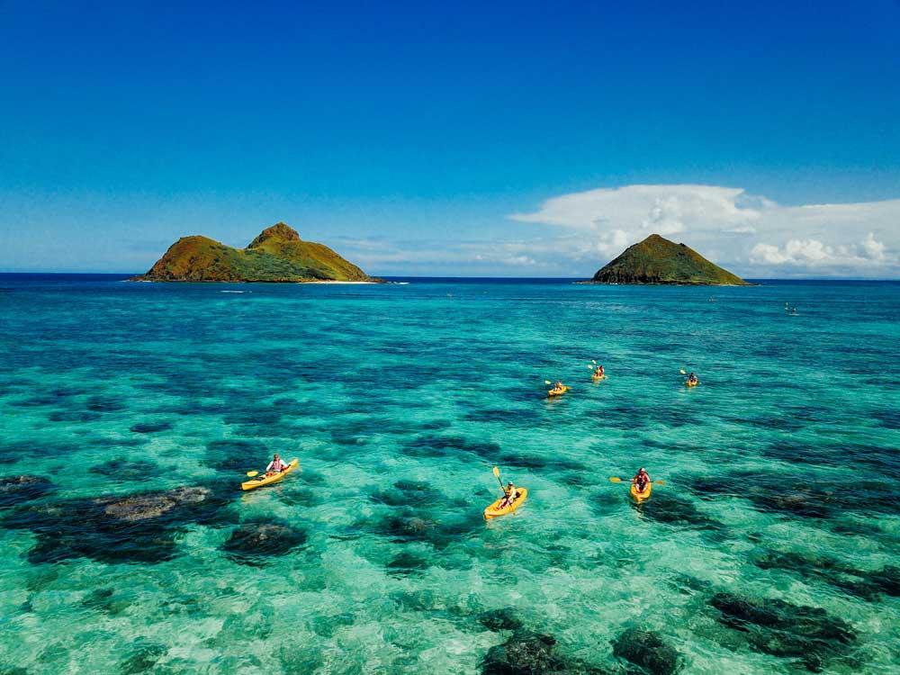 Kayaking through coral reef on Oahu