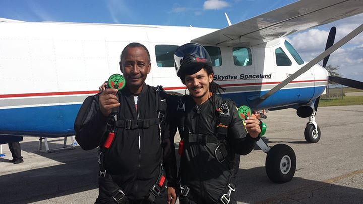 Mike (l) photographed before a Team Blackstar 'patch jump' with Ramone Edwards.