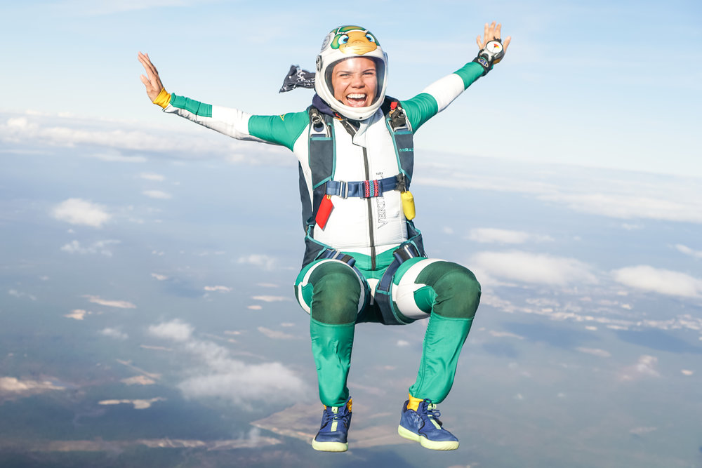Nadia sitflying over Skydive Paraclete in North Carolina ( Photo credit: Elliot Byrd).