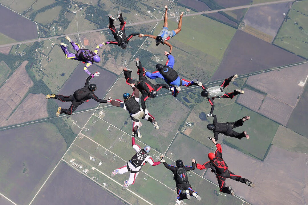 Skydiving in Texas with new friends.  Photo credit: Dave Ryder