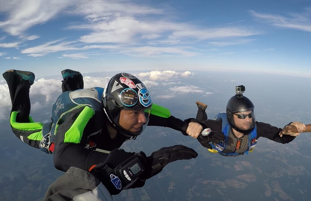 Eli earned his skydiving license in 2016—ten years after he completed a tandem skydive in San Marcos, TX.  Photo credit: Nate Duborow
