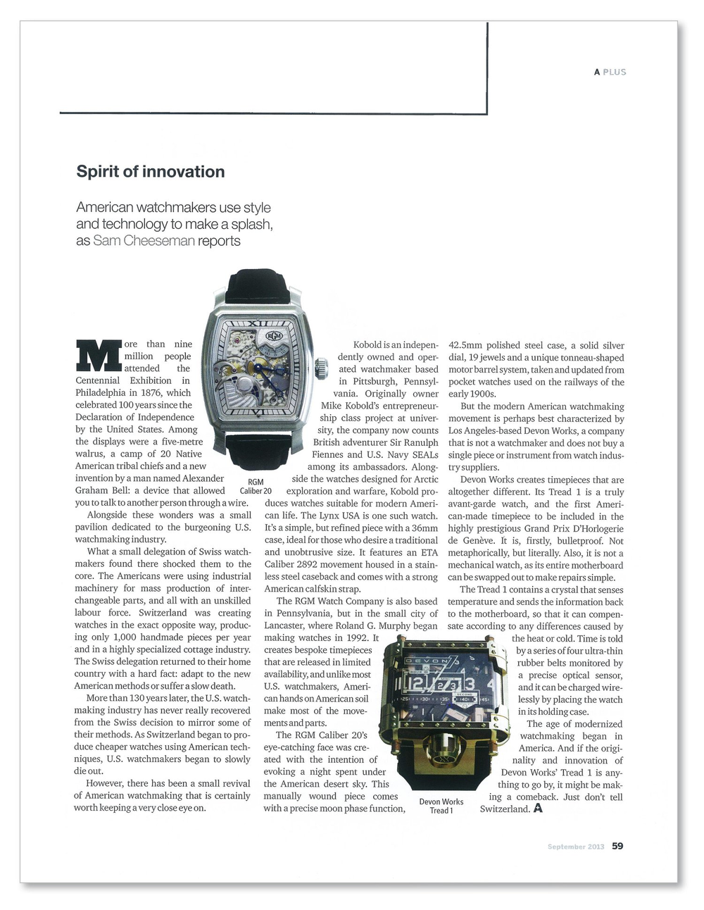 A Plus Magazine - Timepieces