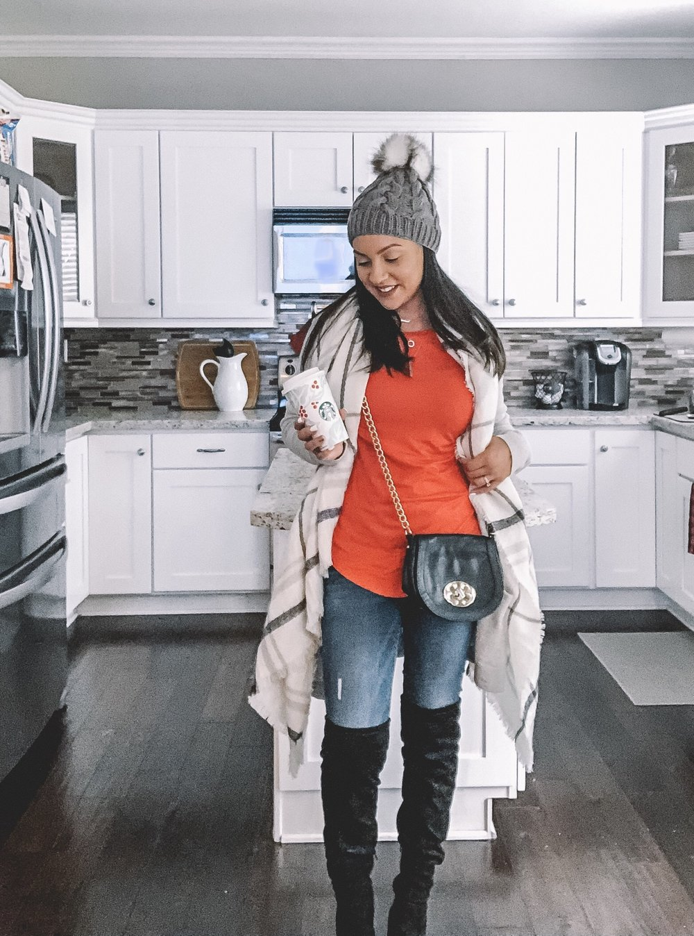 """I can't forget a long cardigan and cross body bag. They're a quick """"throw on"""" addition to any outfit but also add some style. Pair with a dress or jeans, boots or booties and you've got yourself an outfit sure to get you some compliments."""