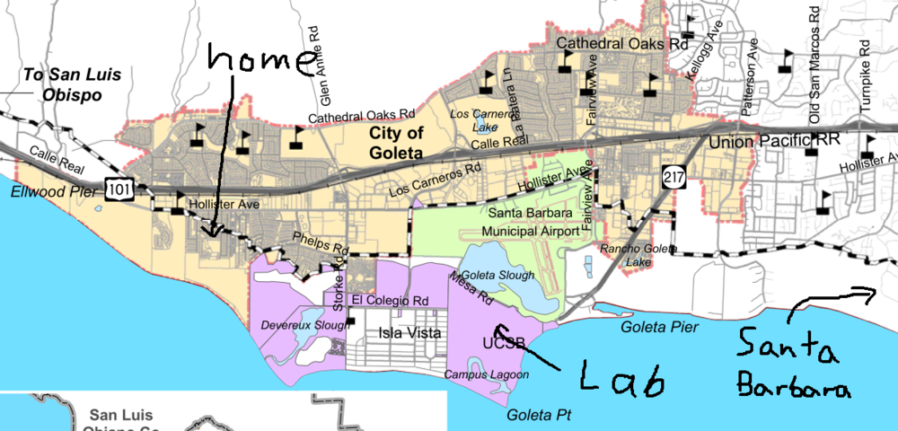 Map courtesy of the City of Goleta and modified (crudely) by me.
