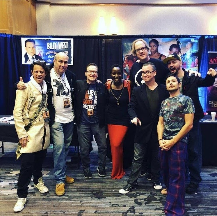 Alex appearing at Ancient City Con in September 2018 with George Lowe, Billy West, Janeshia Adams-Ginyard, John Anderson, Patty Hawkins, Isaak Wells and Jason Marsden. - Photo credit: @isaakwells