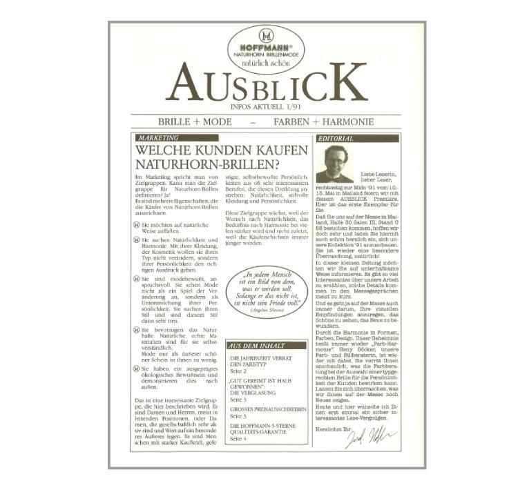 1991 - Hoffmann informiert:                     Erste Ausgabe