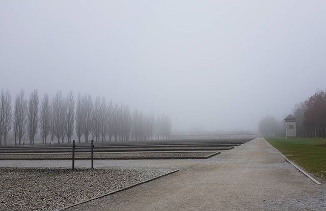 The former prison camp.  #dachau #concentrationcamp #fog #landscape