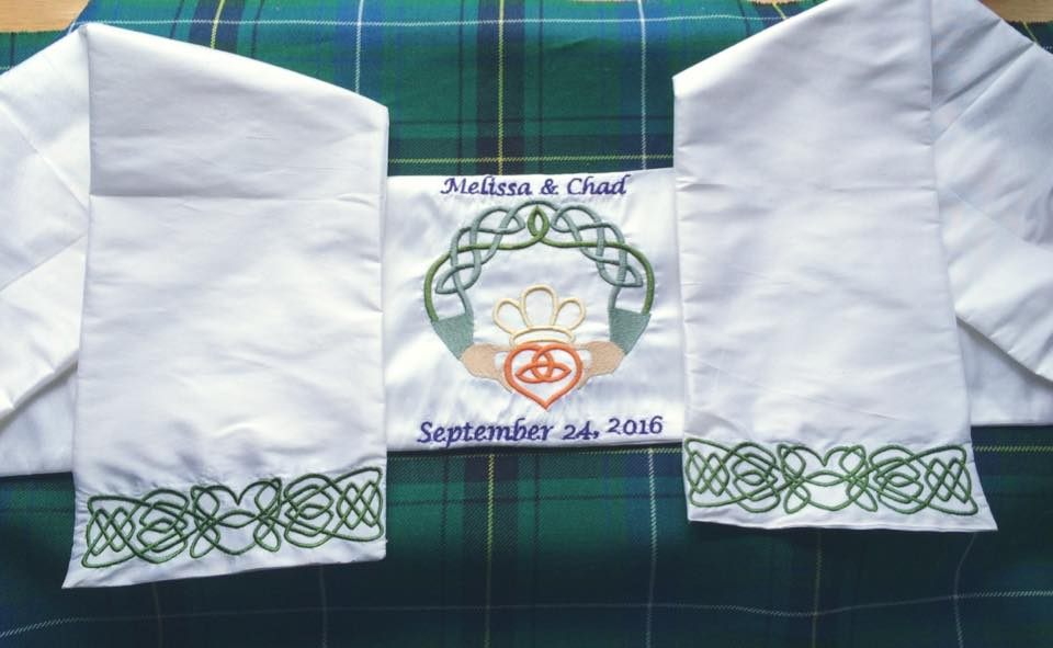 Celtic border, Claddagh center, and two lines of text.