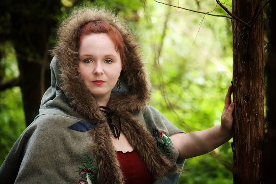 Kara modeling her <br> new Elf Hood...