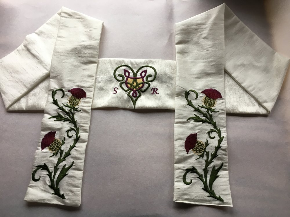 Silk Handfasting Cloth <br> With Thistles