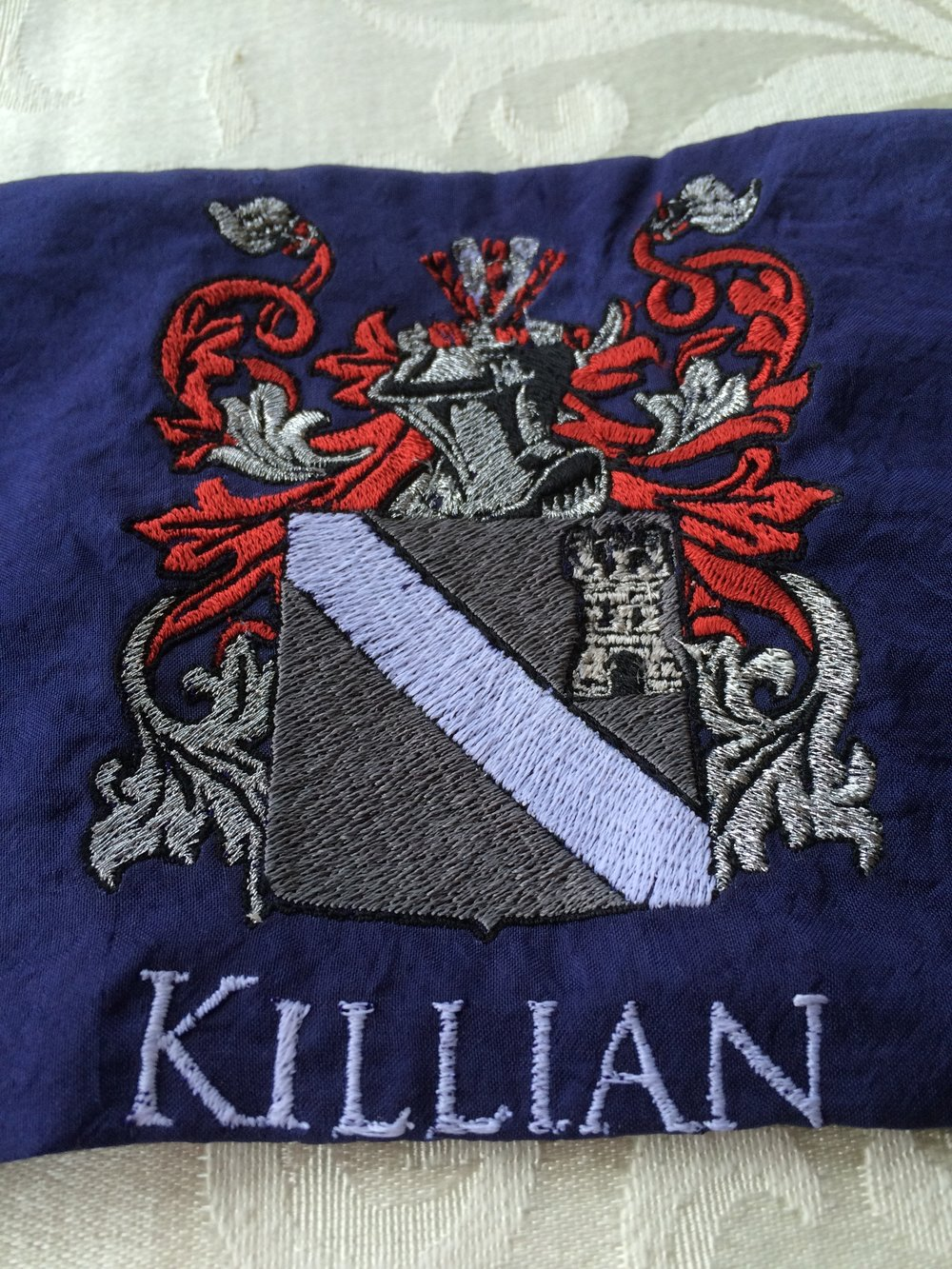 Killian custom crest <br> on blue silk