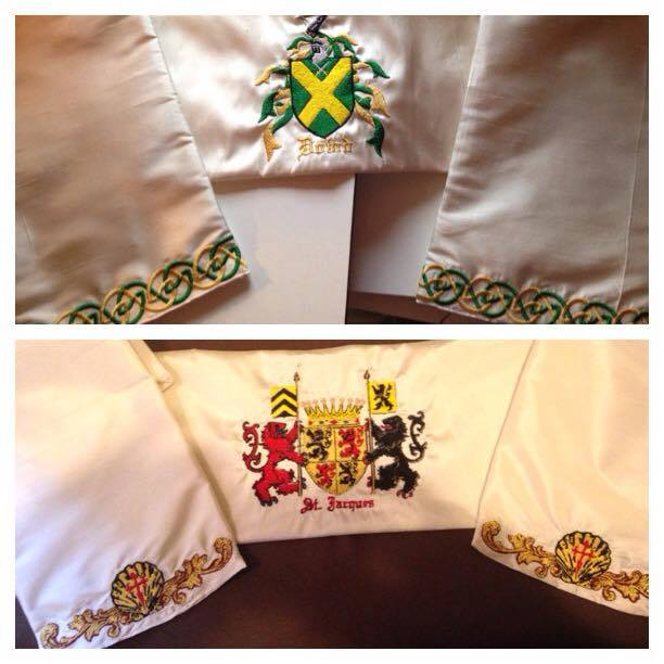 Custom family crests in silk