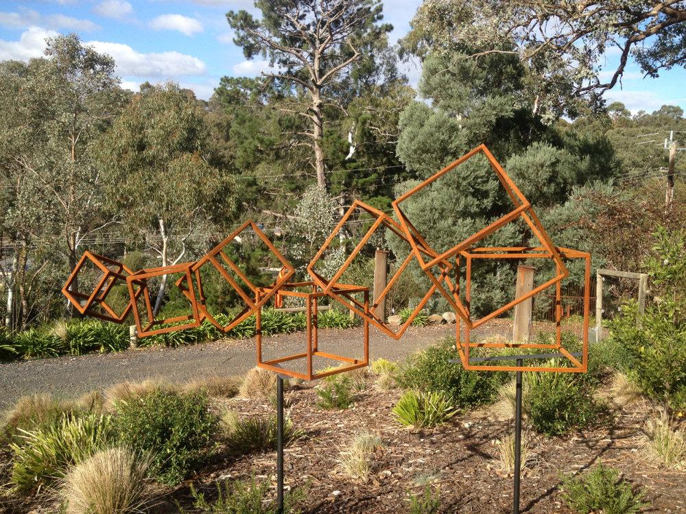 Metal Garden Sculpture   Rolling Cubes