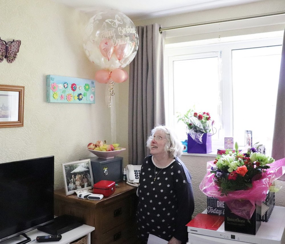 Pauline, a former resident of Hampton Manor, in the flat she moved out to in 2007.