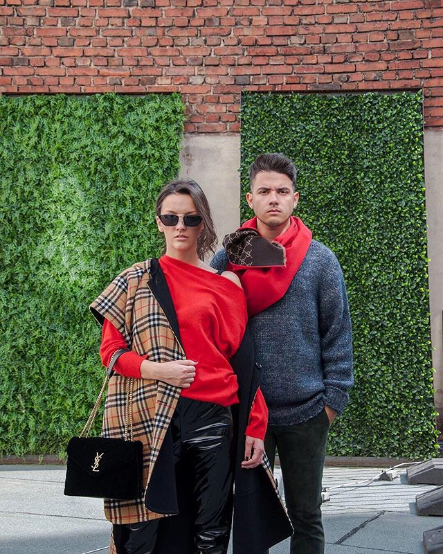 🔥His & hers🔥Bettina wears #SaintLaurent bag, #MSGM patent pants, #Burberry throw, @shakefashionmix sunglasses. Janni wears #Gucci scarf, #Etro pants and #Moncler knit 💥