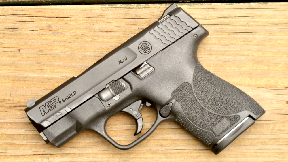 Justin's daily carry handgun - a 9mm M&P Shield.