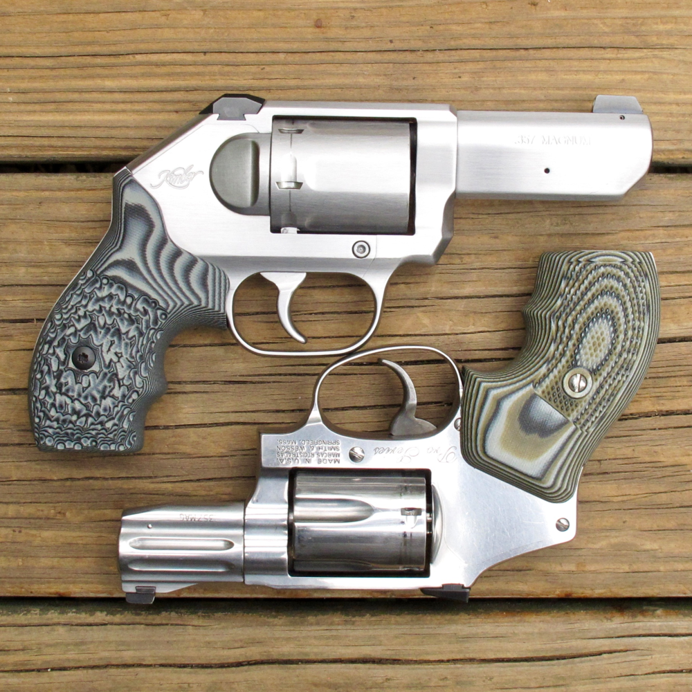 "Two excellent .357 Magnum revolvers: the  3"" Kimber K6S  (top) and the  Smith & Wesson 640 Pro Series ."