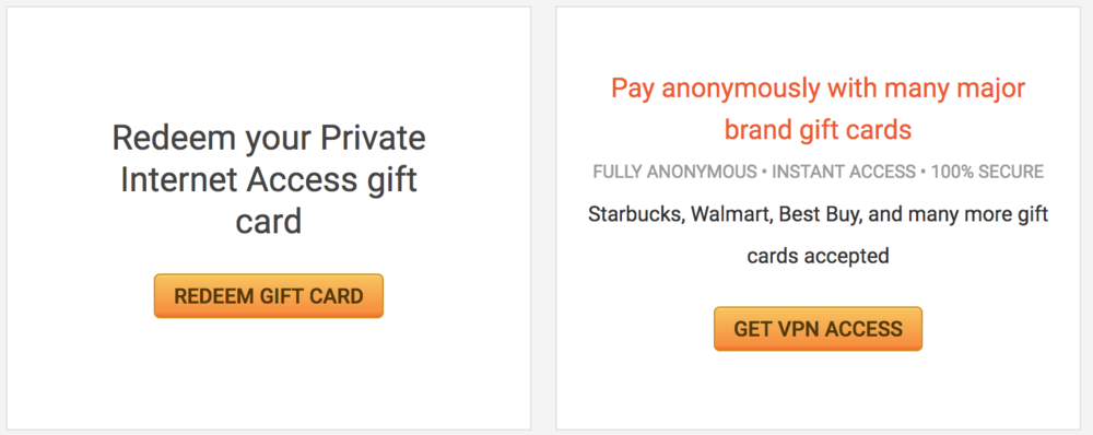 The option to pay anonymously with major brand gift cards.