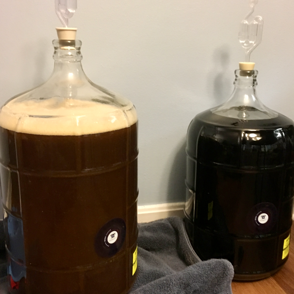 A beer in primary fermentation (left) and secondary fermentation. Notice how much cleaner the batch in secondary appears.