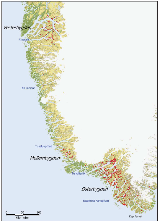 The Norse settlements on Greenland. Each red dot represents a Norse site. Each site holds between one and 60 individual ruins. Østerbygden = the Eastern Settlement. Mellembygden is a modern name for what may have been a Middle Settlement, but is better regarded as part of the medieval Eastern Settlement. Vesterbygden = the Western Settlement. Map is Arneborg (2004)