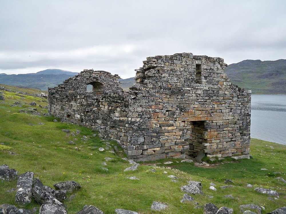 The deserted ruins of Hvalsey Church in Greenland. The wedding of Thorstein Olafsson and Sigrid Björnsdóttir on 16 September 1408 is the last recorded event to take place in Greenland before the Norse mysteriously disappeared from history. [Photo Credit: Wikipedia]